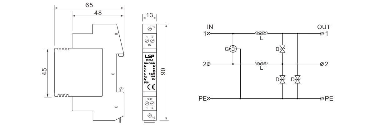 Dimensions-and-Basic-circuit-diagram-DIN-Rail-mounted-SPDs-FLD2-5