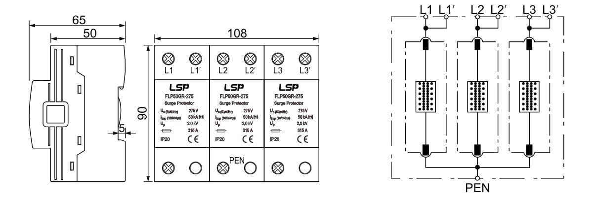 Dimensions-and-Basic-circuit-diagram-SPD-FLP50GR-275-3