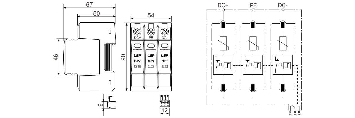 Dimensions-and-Basic-circuit-diagram-SPD-FLP7-PV1500-3S