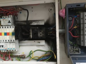 electric distributor box damage caused by lightning strikes